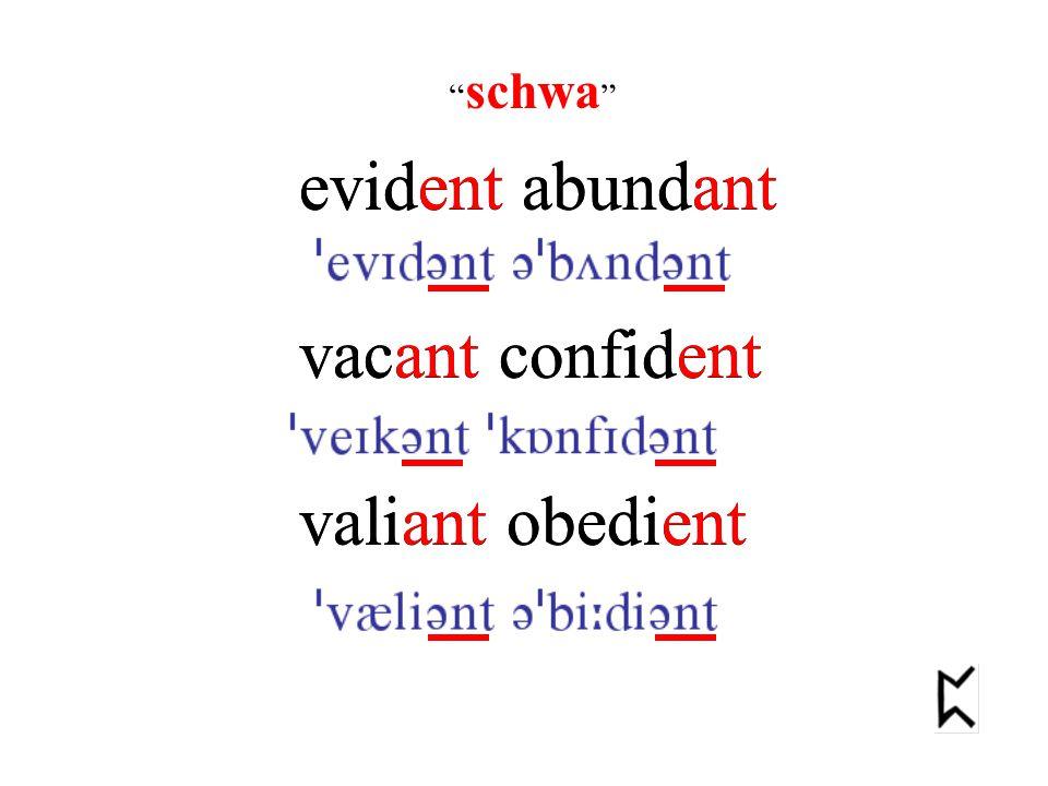 evident abundant vacant confident valiant obedient schwa evident abundant vacant confident valiant obedient