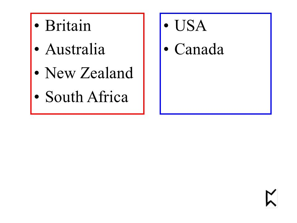 Britain Australia New Zealand South Africa USA Canada