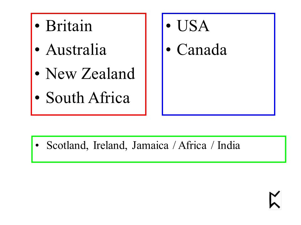 Britain Australia New Zealand South Africa USA Canada Scotland, Ireland, Jamaica / Africa / India