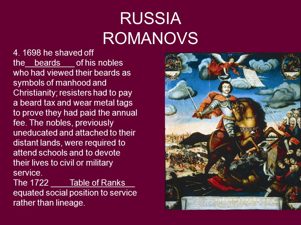 RUSSIA ROMANOVS 4. 1698 he shaved off the__beards___ of his nobles who had viewed their beards as symbols of manhood and Christianity; resisters had t