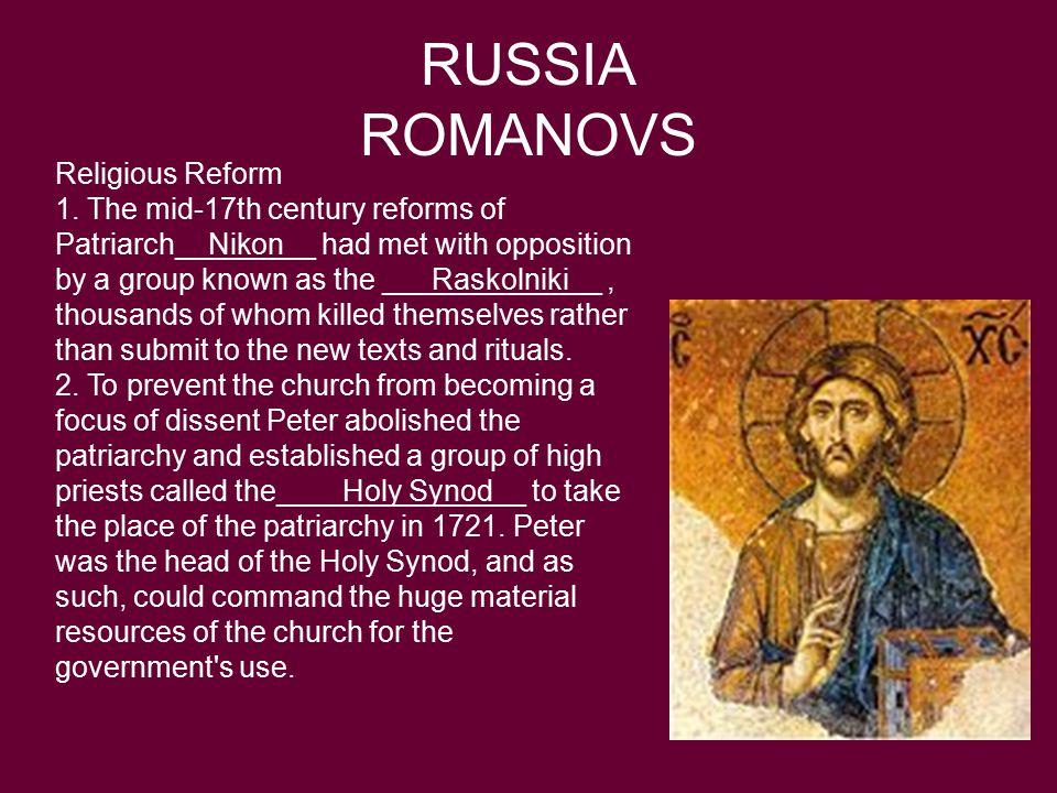 RUSSIA ROMANOVS Religious Reform 1.