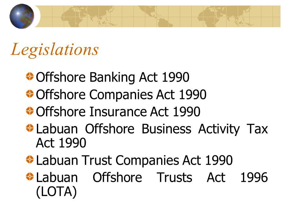 Legislations Lembaga Pembangunan Labuan Act 1992 Labuan Offshore Financial Services Authority Act 1996 Labuan Offshore Limited Partnerships Act 1997 Labuan Offshore Securities Industry Act 1998 Perbadanan Labuan Act 2001