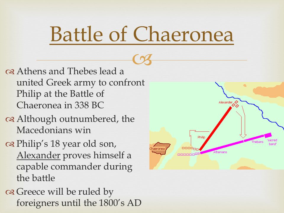   Athens and Thebes lead a united Greek army to confront Philip at the Battle of Chaeronea in 338 BC  Although outnumbered, the Macedonians win  Philip's 18 year old son, Alexander proves himself a capable commander during the battle  Greece will be ruled by foreigners until the 1800's AD Battle of Chaeronea