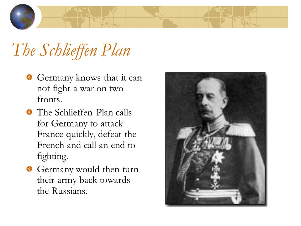 The Schlieffen Plan Germany knows that it can not fight a war on two fronts.