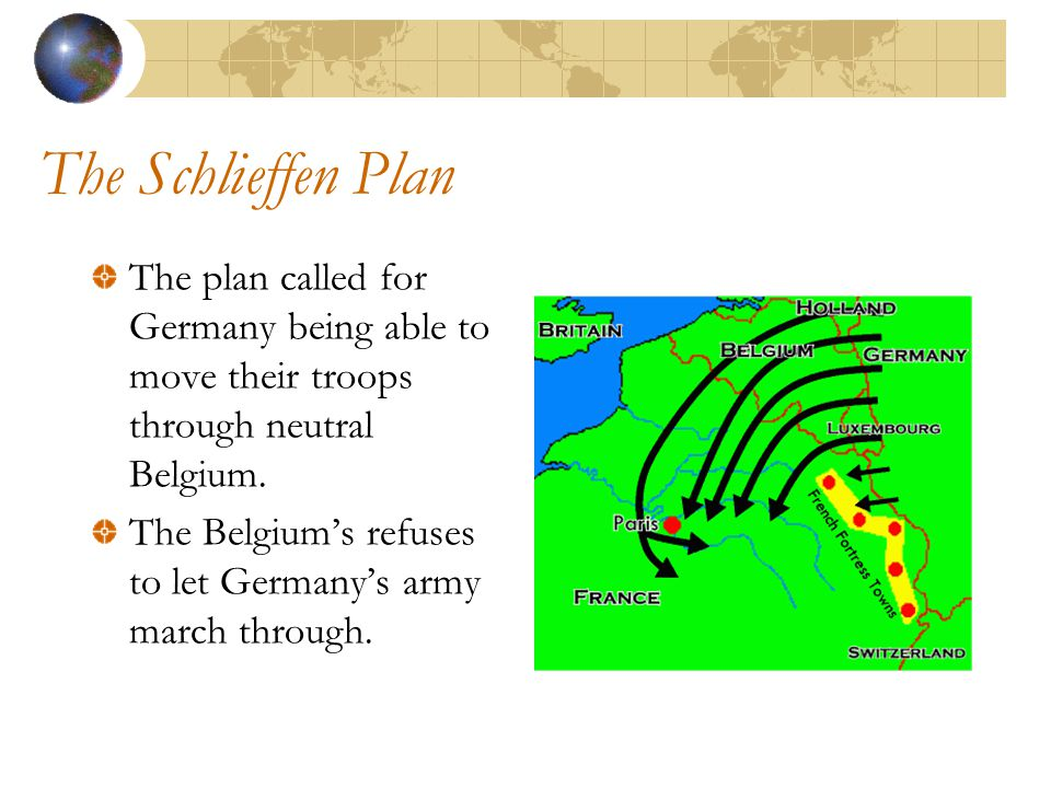 The Schlieffen Plan The plan called for Germany being able to move their troops through neutral Belgium.