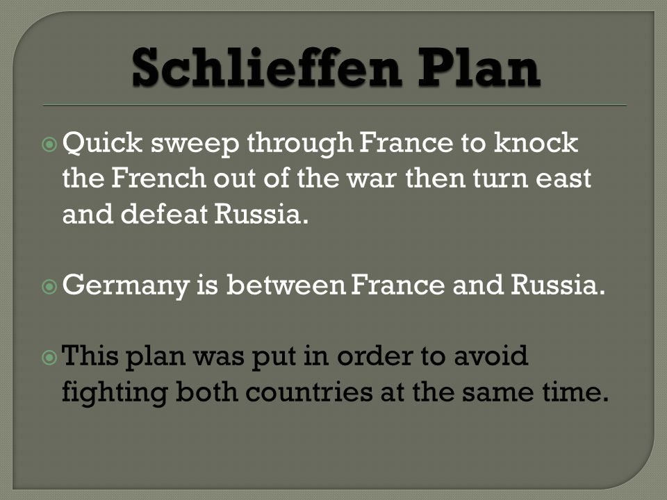  Quick sweep through France to knock the French out of the war then turn east and defeat Russia.