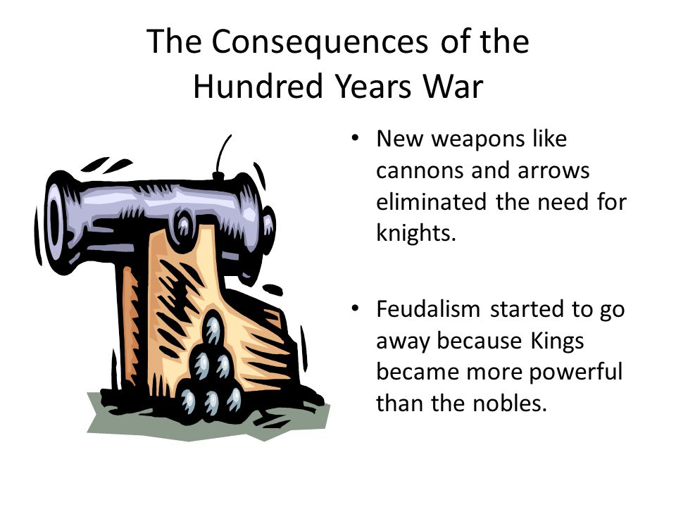 The Consequences of the Hundred Years War New weapons like cannons and arrows eliminated the need for knights.