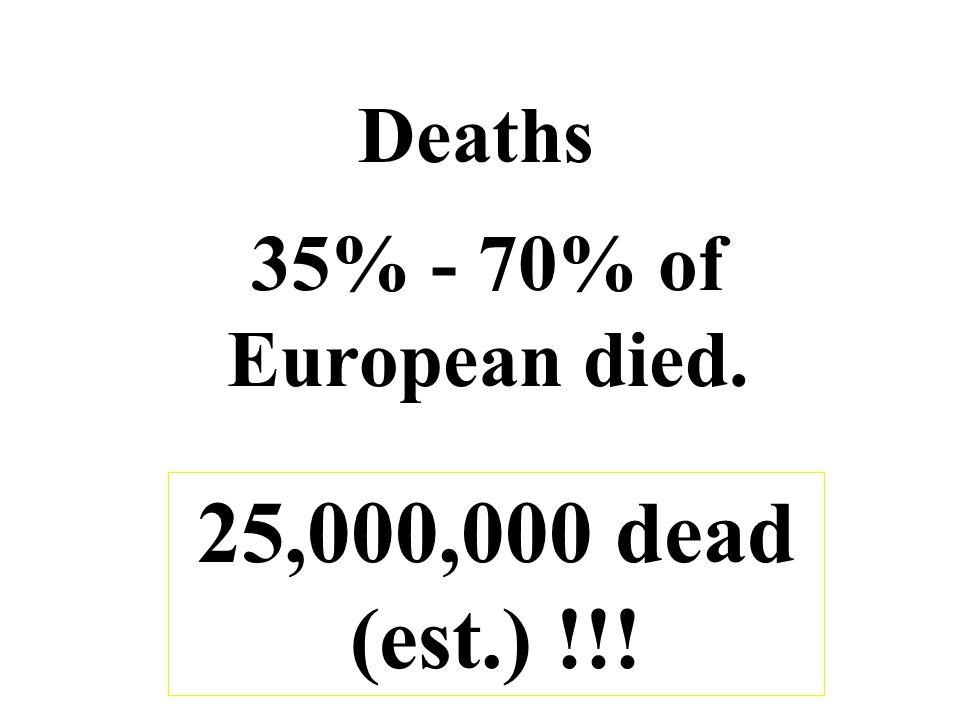 Deaths 35% - 70% of European died. 25,000,000 dead (est.) !!!