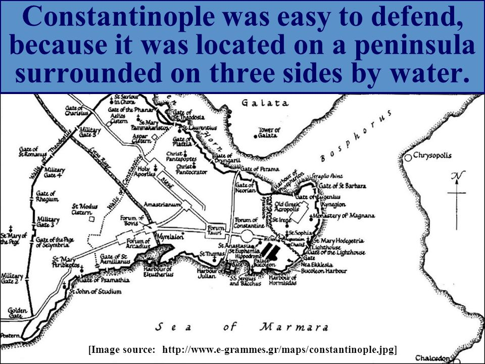Constantinople was easy to defend, because it was located on a peninsula surrounded on three sides by water.