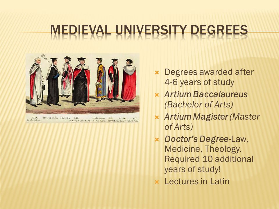  Degrees awarded after 4-6 years of study  Artium Baccalaureus (Bachelor of Arts)  Artium Magister (Master of Arts)  Doctor's Degree-Law, Medicine