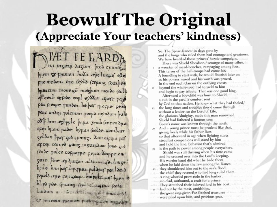 Beowulf: Old Ruler Battle with the Dragon. Elderly king of the Geats. Part II: