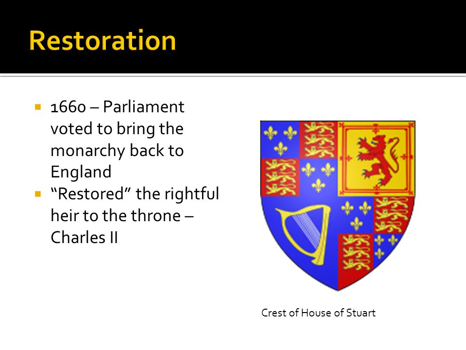  1660 – Parliament voted to bring the monarchy back to England  Restored the rightful heir to the throne – Charles II Crest of House of Stuart
