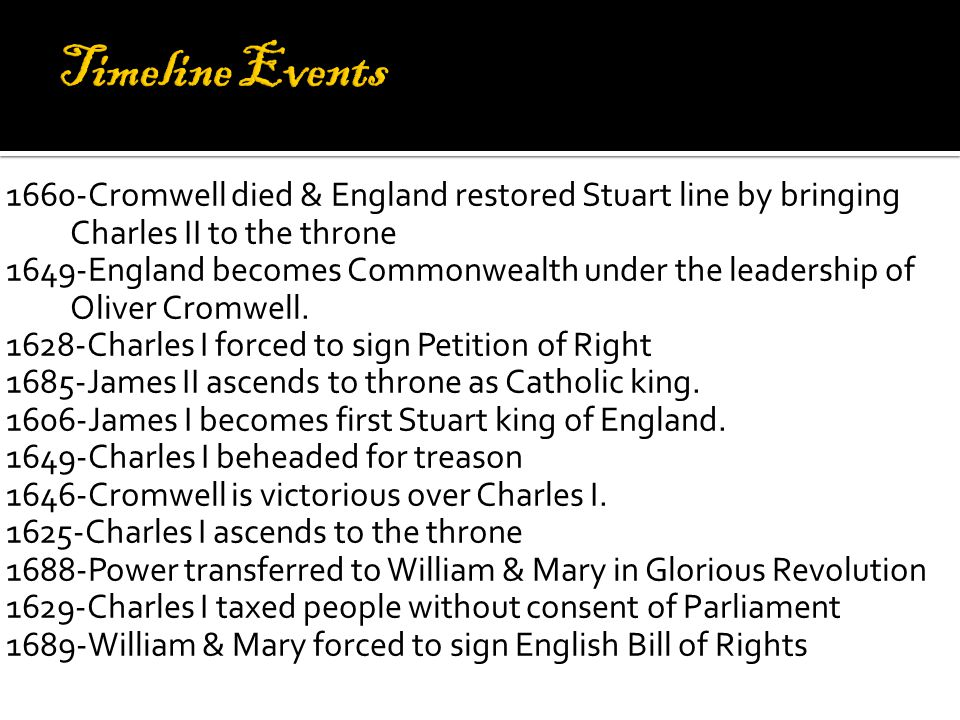 1660-Cromwell died & England restored Stuart line by bringing Charles II to the throne 1649-England becomes Commonwealth under the leadership of Olive