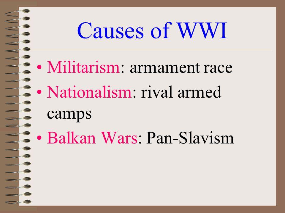Causes of WWI Militarism: armament race Nationalism: rival armed camps Balkan Wars: Pan-Slavism