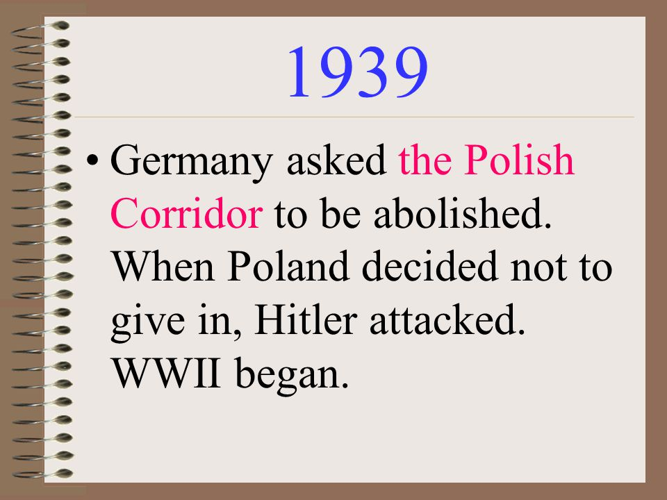 1939 Germany asked the Polish Corridor to be abolished.