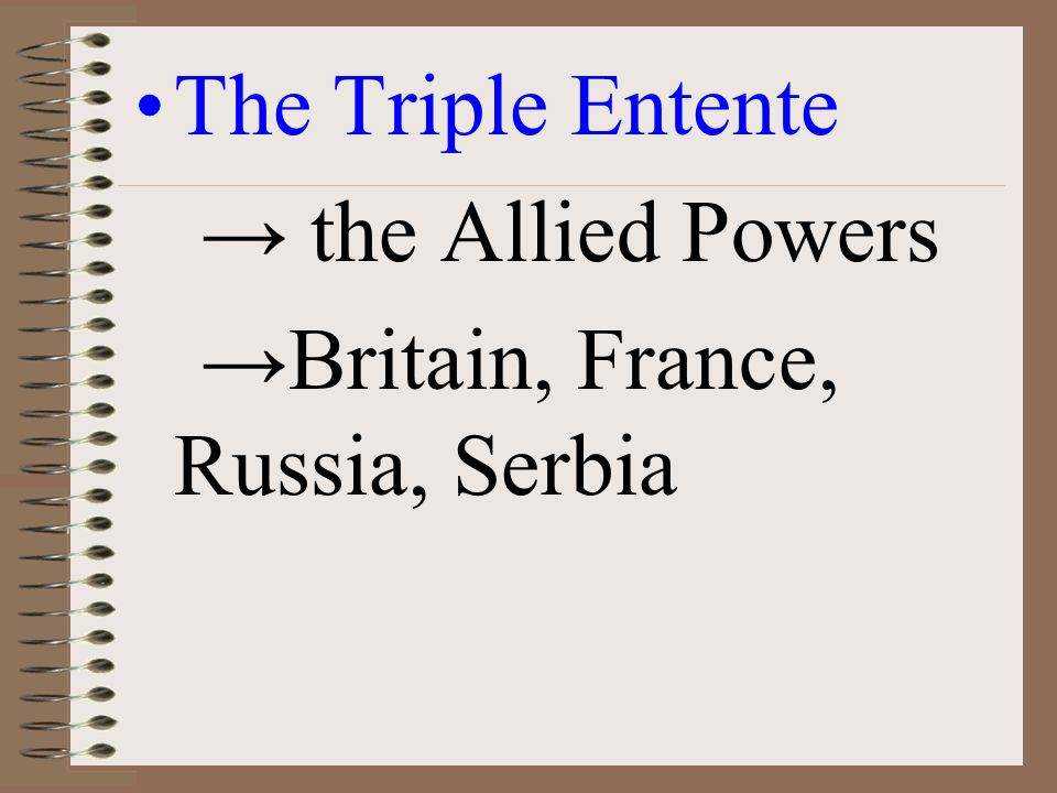 The Triple Entente → the Allied Powers →Britain, France, Russia, Serbia