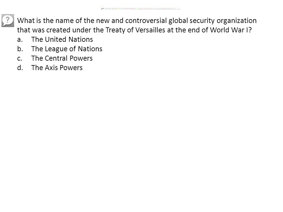 What is the name of the new and controversial global security organization that was created under the Treaty of Versailles at the end of World War I.