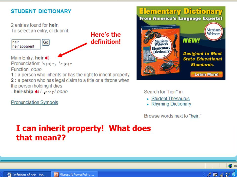 Here's the definition! I can inherit property! What does that mean??