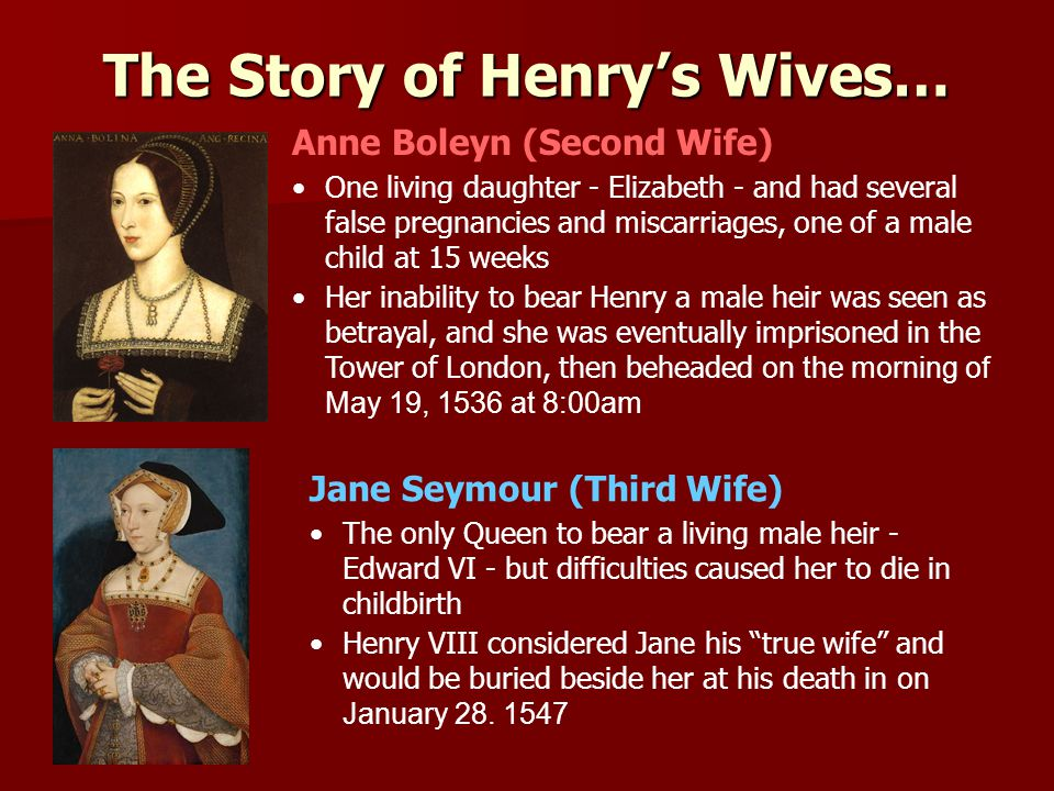 The Story of Henry's Wives… Anne Boleyn (Second Wife) One living daughter - Elizabeth - and had several false pregnancies and miscarriages, one of a male child at 15 weeks Her inability to bear Henry a male heir was seen as betrayal, and she was eventually imprisoned in the Tower of London, then beheaded on the morning of May 19, 1536 at 8:00am Jane Seymour (Third Wife) The only Queen to bear a living male heir - Edward VI - but difficulties caused her to die in childbirth Henry VIII considered Jane his true wife and would be buried beside her at his death in on January 28.