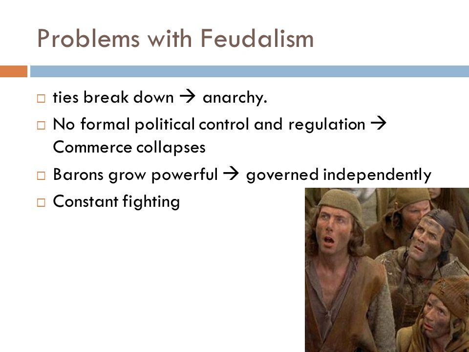 Problems with Feudalism  ties break down  anarchy.