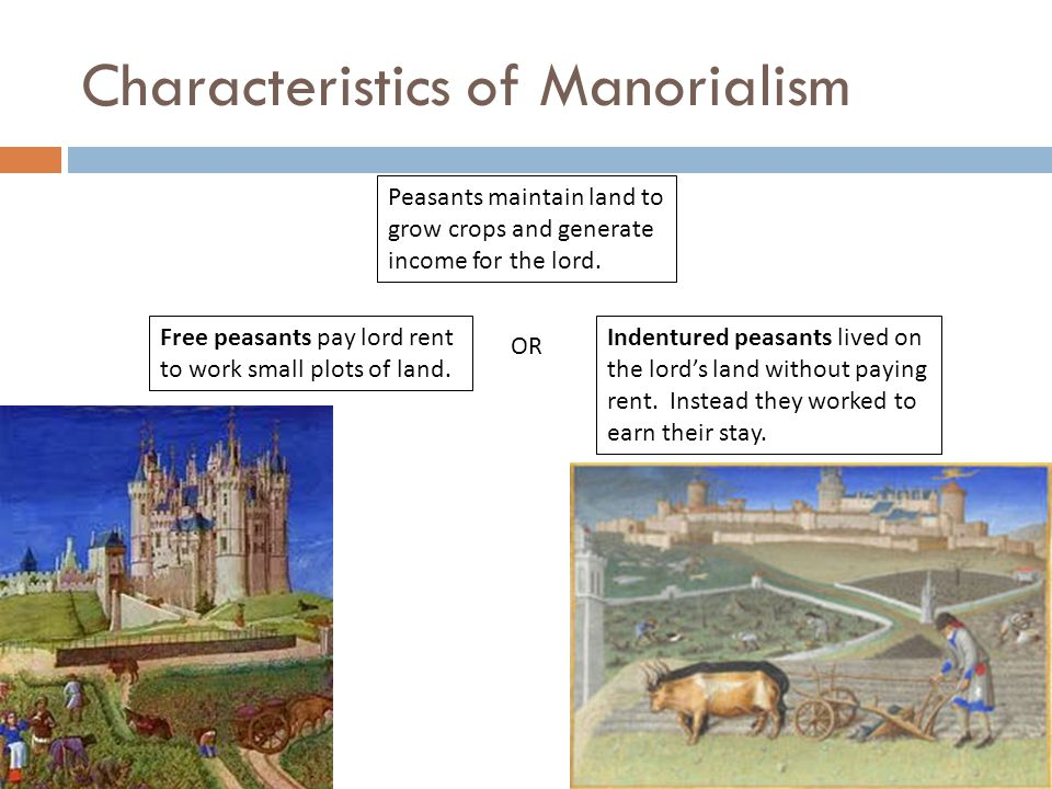 Characteristics of Manorialism Peasants maintain land to grow crops and generate income for the lord.