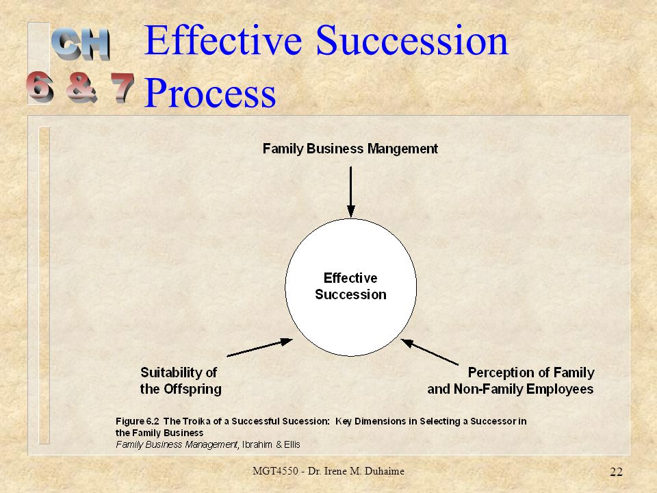 MGT4550 - Dr. Irene M. Duhaime 22 Effective Succession Process