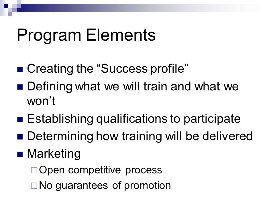 Program Elements Creating the Success profile Defining what we will train and what we won't Establishing qualifications to participate Determining how training will be delivered Marketing  Open competitive process  No guarantees of promotion