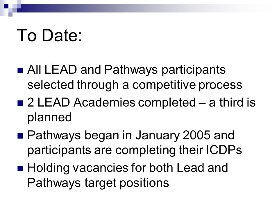 To Date: All LEAD and Pathways participants selected through a competitive process 2 LEAD Academies completed – a third is planned Pathways began in January 2005 and participants are completing their ICDPs Holding vacancies for both Lead and Pathways target positions