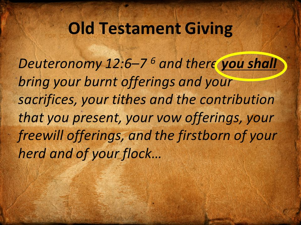 Old Testament Giving Tithe.Leviticus 27:30, & Proverbs 3:9 Free Will Offerings.