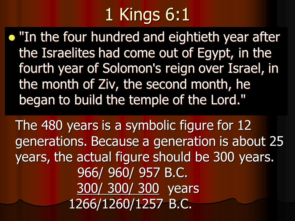 1 Kings 6:1 In the four hundred and eightieth year after the Israelites had come out of Egypt, in the fourth year of Solomon s reign over Israel, in the month of Ziv, the second month, he began to build the temple of the Lord. In the four hundred and eightieth year after the Israelites had come out of Egypt, in the fourth year of Solomon s reign over Israel, in the month of Ziv, the second month, he began to build the temple of the Lord. The 480 years is a symbolic figure for 12 generations.