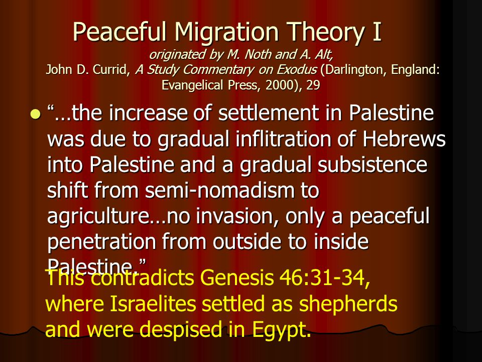 Peaceful Migration Theory I originated by M.Noth and A.