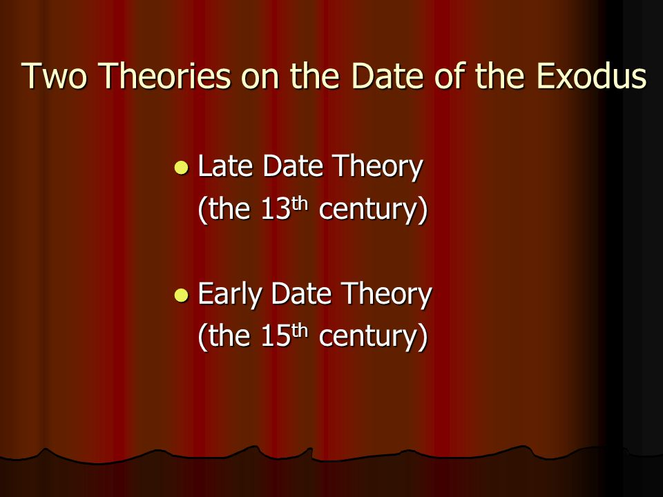 Two Theories on the Date of the Exodus Late Date Theory (the 13th century) Early Date Theory (the 15th century)