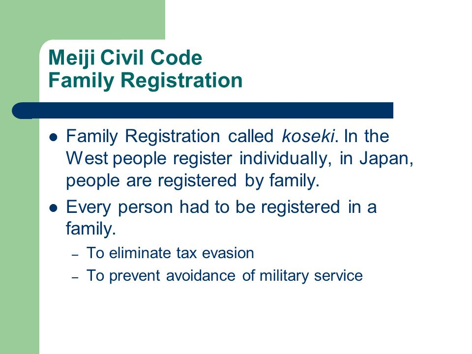 Meiji Civil Code Family Registration Family Registration called koseki.