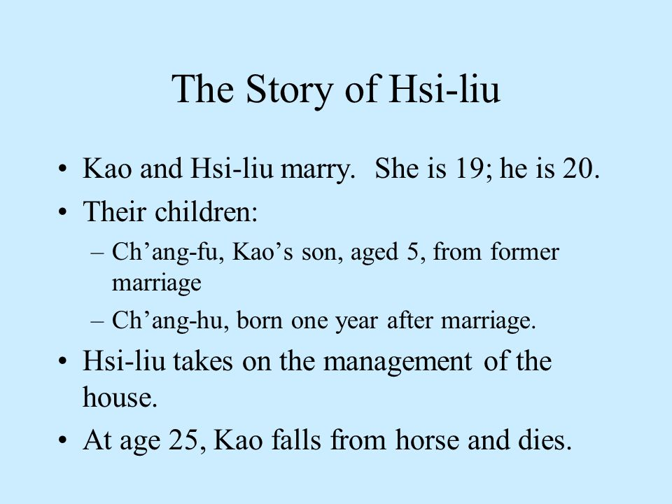 Hsi-liu's Life as a Widow Her dilemma: to raise her sons to adulthood and provide economically for the family.