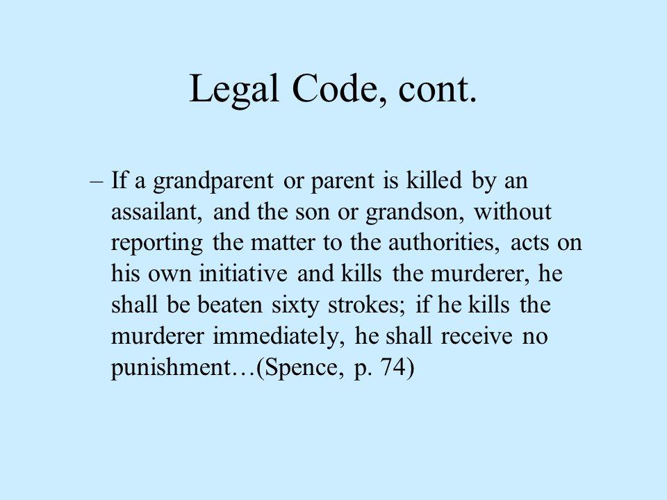 Legal Code, cont.