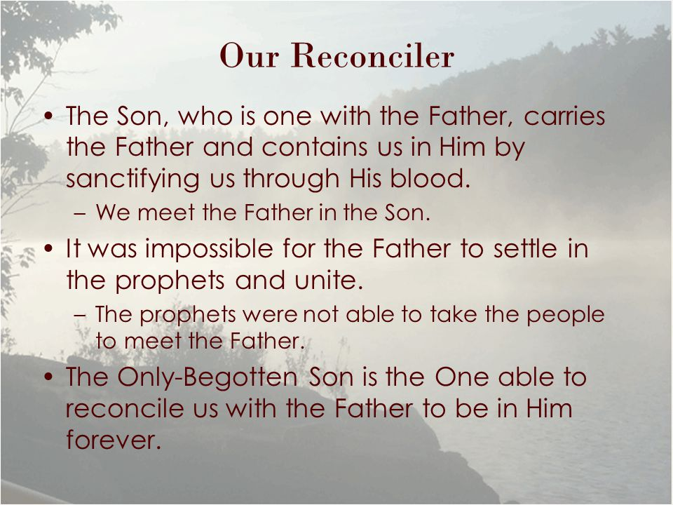 Our Reconciler The Son, who is one with the Father, carries the Father and contains us in Him by sanctifying us through His blood.