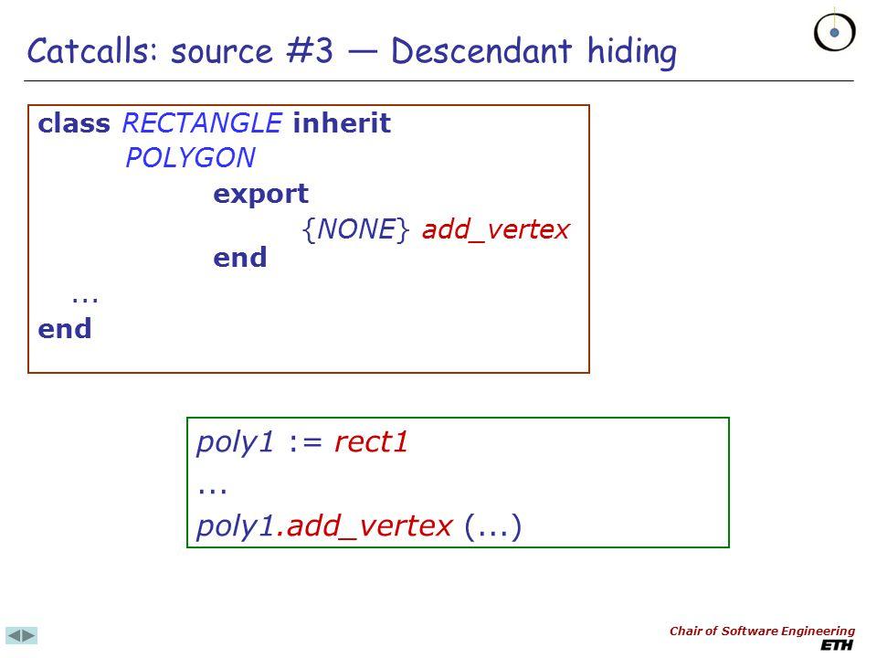 Chair of Software Engineering Catcalls: source #2 — Genericity skipper_list: LIST [SKIPPER] cat_skipper_list: LIST [CAT_SKIPPER]...