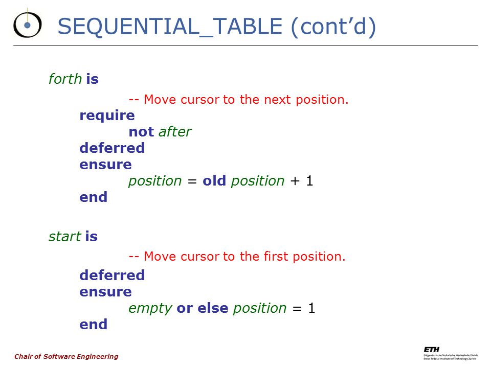 Chair of Software Engineering Don't call us, we'll call you deferred class SEQUENTIAL_TABLE [G] inherit TABLE [G] feature has (x: G): BOOLEAN is -- Do