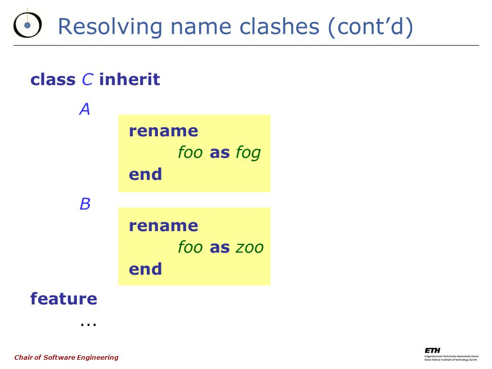 Chair of Software Engineering Resolving name clashes A C foo B rename foo as fogrename foo as zoo