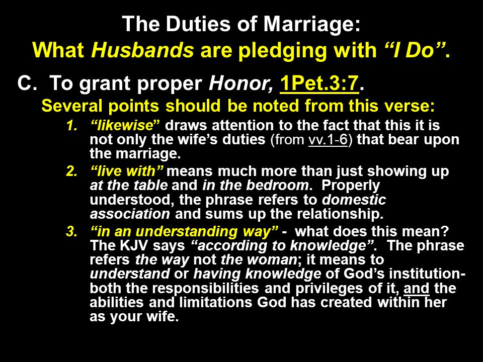 The Duties of Marriage: What Husbands are pledging with I Do .