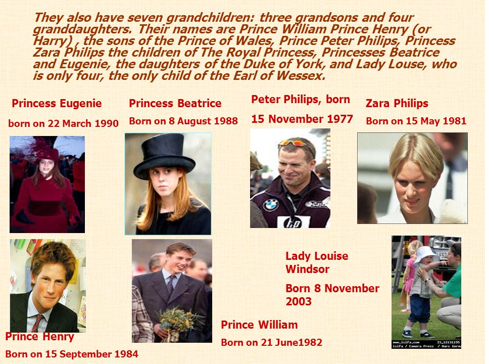 They also have seven grandchildren: three grandsons and four granddaughters. Their names are Prince William Prince Henry (or Harry), the sons of the P