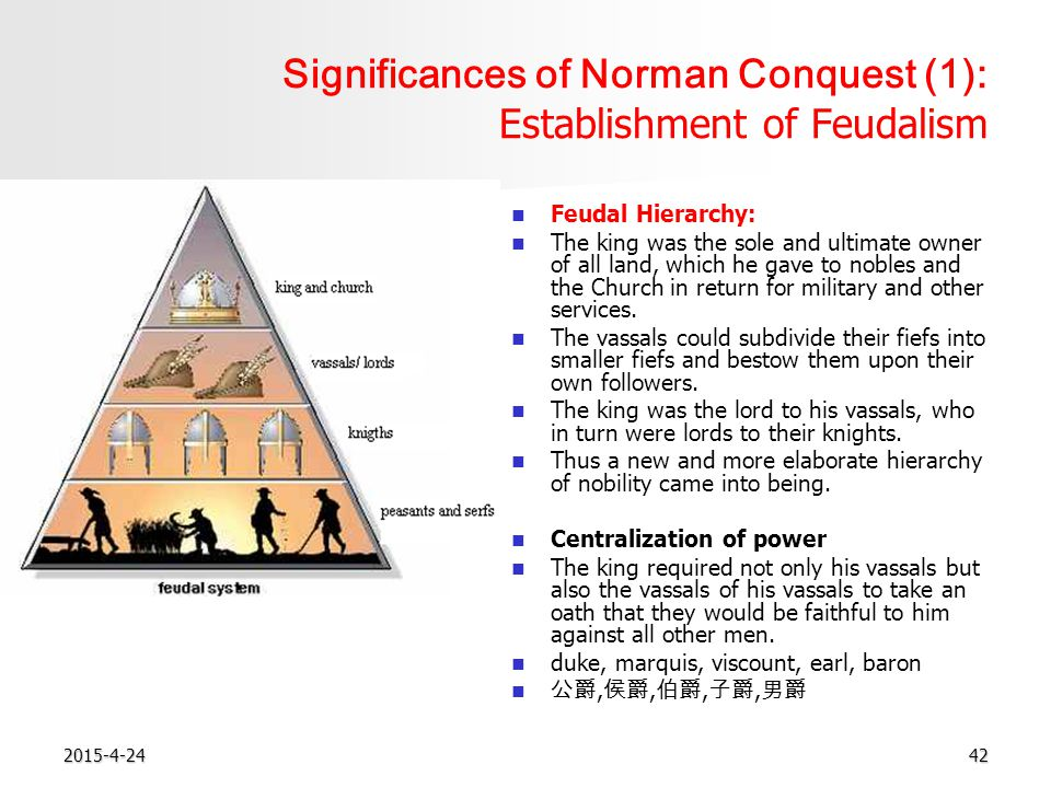 2015-4-2442 Significances of Norman Conquest (1): Establishment of Feudalism Feudal Hierarchy: The king was the sole and ultimate owner of all land, which he gave to nobles and the Church in return for military and other services.