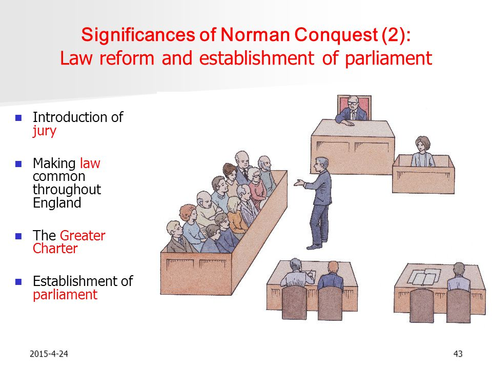 2015-4-2443 Significances of Norman Conquest (2): Law reform and establishment of parliament Introduction of jury Making law common throughout England The Greater Charter Establishment of parliament