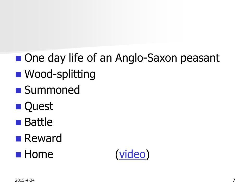 2015-4-247 One day life of an Anglo-Saxon peasant Wood-splitting Summoned Quest Battle Reward Home(video)video