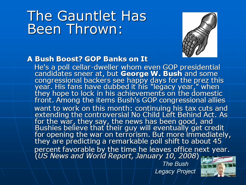 The Bush Legacy Project A Bush Boost.