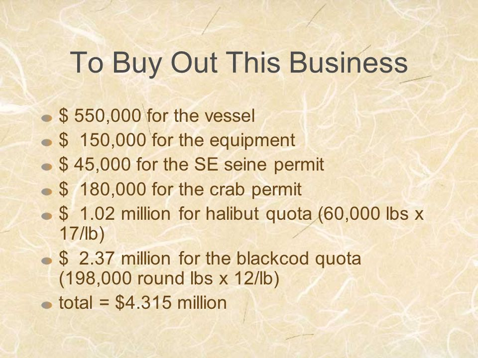 To Buy Out This Business $ 550,000 for the vessel $ 150,000 for the equipment $ 45,000 for the SE seine permit $ 180,000 for the crab permit $ 1.02 million for halibut quota (60,000 lbs x 17/lb) $ 2.37 million for the blackcod quota (198,000 round lbs x 12/lb) total = $4.315 million