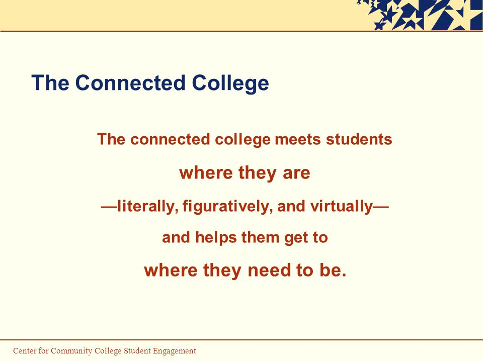Center for Community College Student Engagement The Connected College The connected college meets students where they are —literally, figuratively, and virtually— and helps them get to where they need to be.