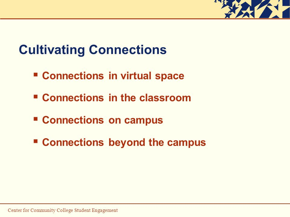 Center for Community College Student Engagement Cultivating Connections  Connections in virtual space  Connections in the classroom  Connections on campus  Connections beyond the campus