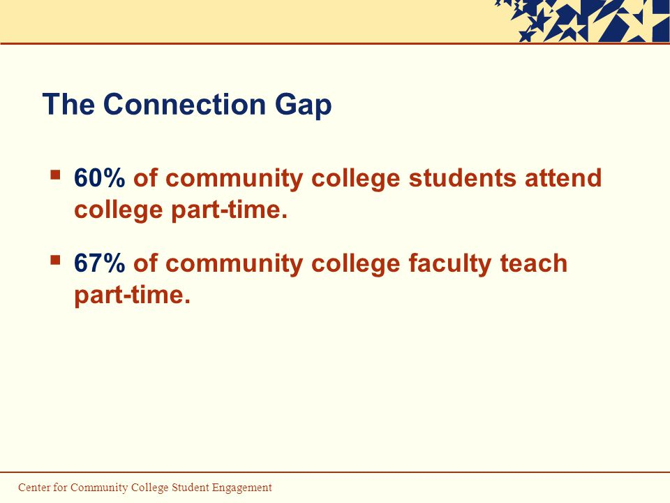 Center for Community College Student Engagement The Connection Gap  60% of community college students attend college part-time.
