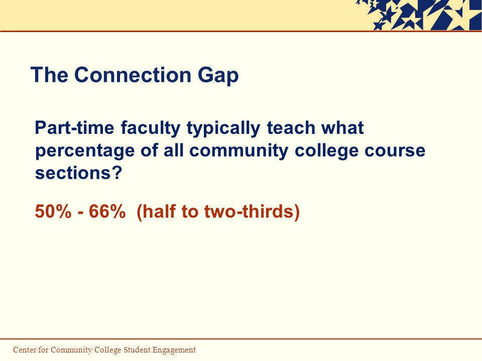 The Connection Gap Part-time faculty typically teach what percentage of all community college course sections.